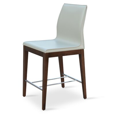 Polo 24 inch Bar Stool Upholstery: Bone, Base Finish: Wenge