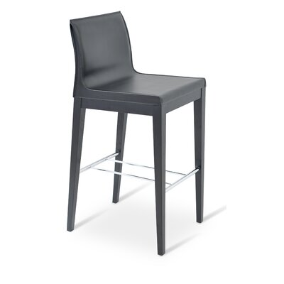 Polo 29 Bar Stool Base Finish: Original Walnut, Upholstery: Black