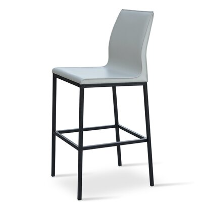 Polo 29 Bar Stool Base Finish: Black Powder, Upholstery: Black