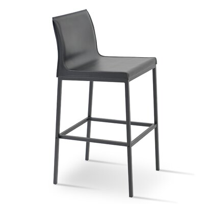 Polo 29 Bar Stool Base Finish: Black Powder, Upholstery: Brown