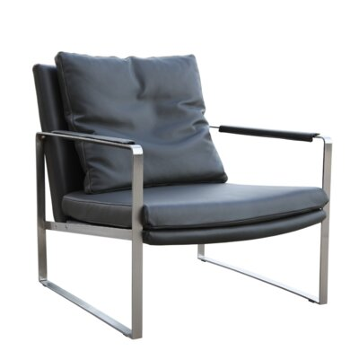 Zara Armchair Color: Gray, Upholstery Type: Genuine Leather