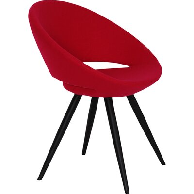 Crescent Star Upholstered Dining Chair Upholstery Color: Leatherette Red, Leg Color: Black Powder