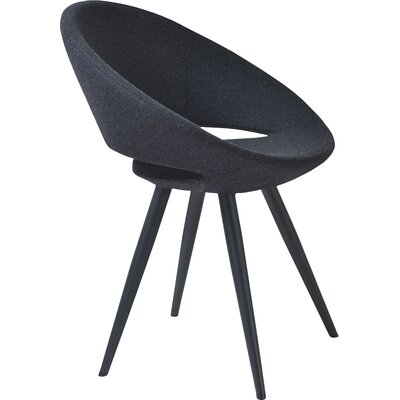 Crescent Star Upholstered Dining Chair Leg Color: Black Powder, Upholstery Color: Leatherette Black