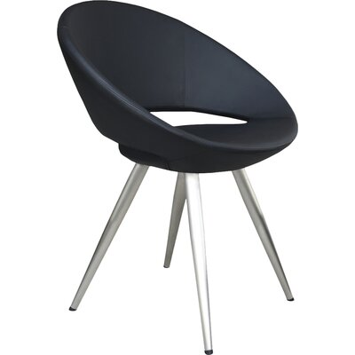 Crescent Star Upholstered Dining Chair Leg Color: Stainless Steel, Upholstery Color: Charcoal