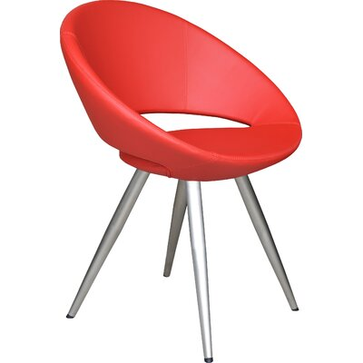 Crescent Star Upholstered Dining Chair Upholstery Color: Leatherette Red, Leg Color: Stainless Steel