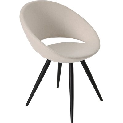 Crescent Star Upholstered Dining Chair Upholstery Color: Beige, Leg Color: Black Powder