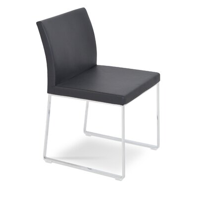 Aria Upholstered Dining Chair Color: Leatherette Brown