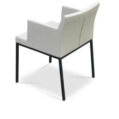 Soho Chrome Arm Chair in Genuine Leather Upholstery Color: Black Pepper, Frame Color: Chrome