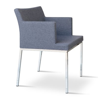 Soho Chrome Arm Chair Upholstery Color: Gray Brick, Frame Color: Chrome