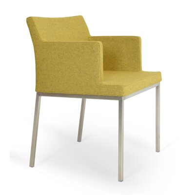 Soho Chrome Arm Chair Finish: Chrome, Color: Silver, Upholstery: Camira Wool