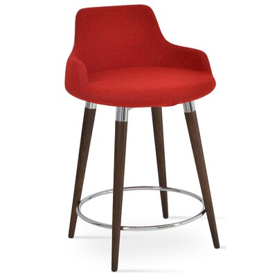Dervish 29.5 Bar Stool Leg Color: Walnut, Upholstery: Wool-Turquoise