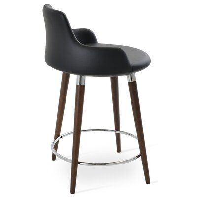 Dervish 29.5 Bar Stool Leg Color: Walnut, Upholstery: Leatherette-Black
