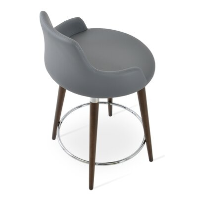 Dervish 29.5 Bar Stool Leg Color: Natural, Upholstery: Leatherette-Gray