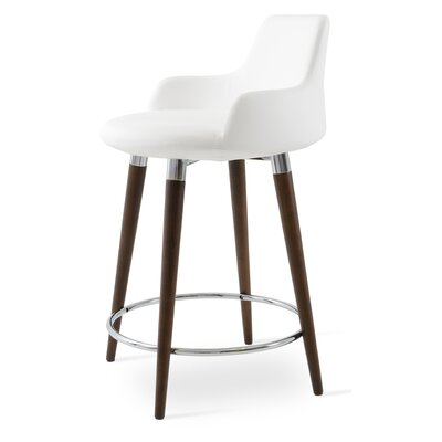 Dervish 29.5 Bar Stool Leg Color: Walnut, Upholstery: Leatherette-White