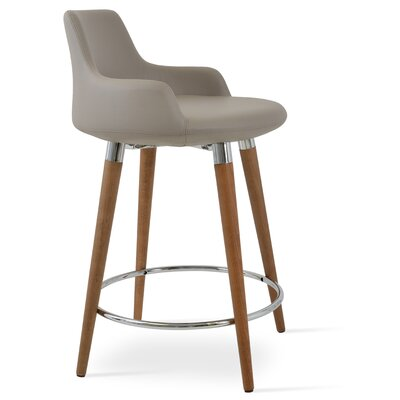 Dervish 29.5 Bar Stool Leg Color: Natural, Upholstery: Leatherette-Orange