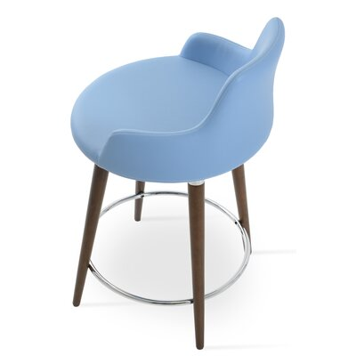 Dervish 29.5 inch Bar Stool Finish: Natural, Upholstery: Blue Leatherette