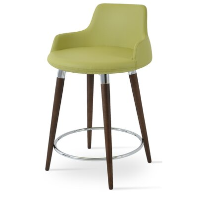 Dervish 29.5 Bar Stool Upholstery: Turquoise Wool, Finish: American Walnut