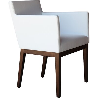 Harput Armchair Frame Finish: Walnut, Upholstery: White