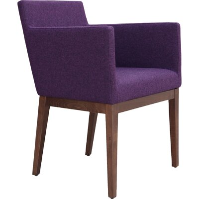 Harput Arm Chair Frame Finish: Walnut, Upholstery Finish: Deep Maroon