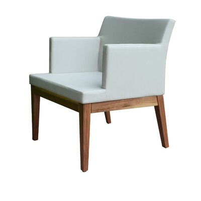 Soho Wood Arm Chair Finish: Walnut, Upholstery Color: White, Upholstery Type: Leatherette