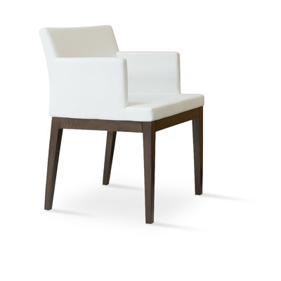 Soho Wood Arm Chair Finish: Wenge, Upholstery Color: White, Upholstery Type: Leatherette