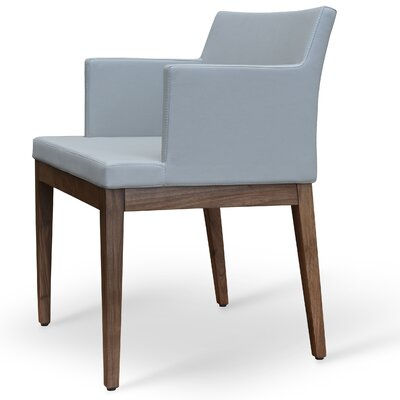 Soho Wood Arm Chair Finish: Walnut, Upholstery Color: Bone, Upholstery Type: Leatherette-PPM
