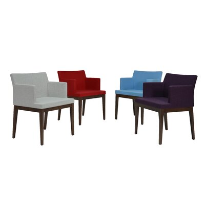 Soho Wood Arm Chair Finish: Walnut, Upholstery Color: Red, Upholstery Type: Leatherette