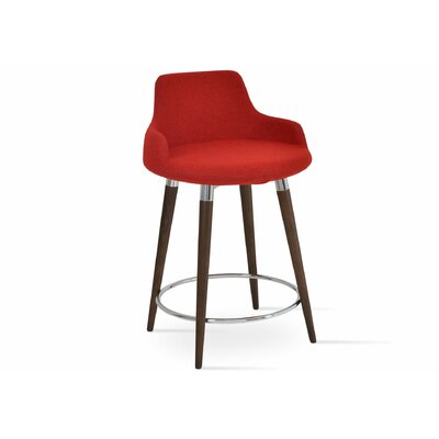 Dervish 24.5 Bar Stool Leg Color: American Walnut, Upholstery: Wool-Turquoise