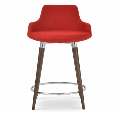 Dervish 24.5 Bar Stool Leg Color: Walnut, Upholstery: Wool-Candy Red