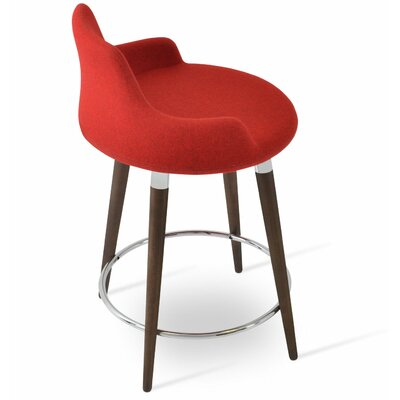 Dervish 24.5 Bar Stool Leg Color: American Walnut, Upholstery: Wool-Candy Red