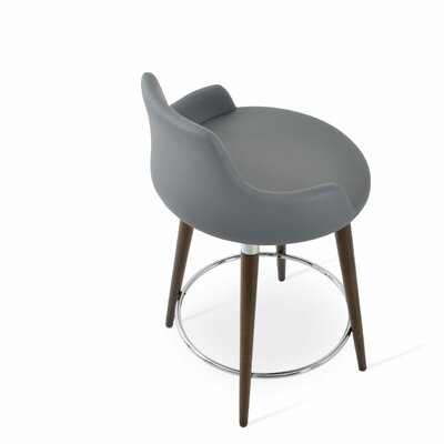Dervish 24.5 Bar Stool Leg Color: Walnut, Upholstery: Gray Leatherette