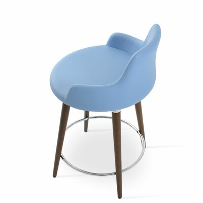 Dervish 24.5 Bar Stool Leg Color: Walnut, Upholstery: Blue Leatherette