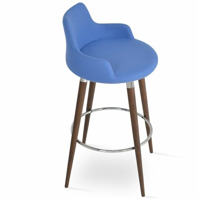 Dervish 24.5 Bar Stool Leg Color: American Walnut, Upholstery: Wool-Sky Blue
