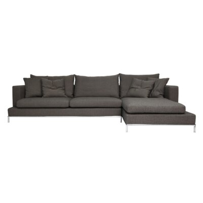 Simena Sectional Upholstery: Cotton, Color: Brown Grey, Orientation: Right Hand Facing