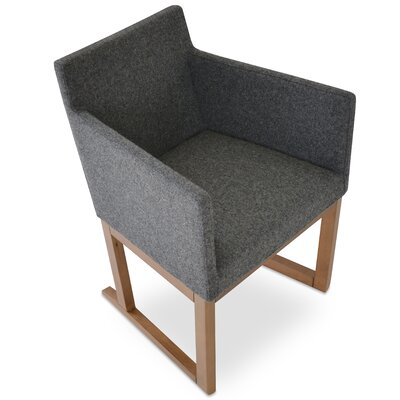 Beverly Sled Arm Chair Upholstery Type - Color: Wool - Dark Gray