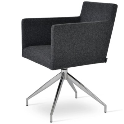 Harput Spider Arm Chair Upholstery Type - Color: Wool - Silver