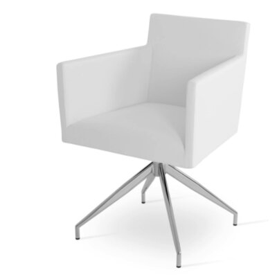 Harput Spider Arm Chair Upholstery Type - Color: Leatherette - White