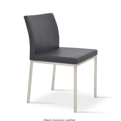 Aria Parsons Chair Upholstery: Leatherette - Black