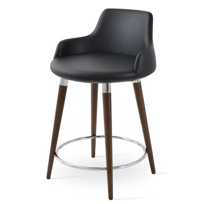 Dervish 24.5 Bar Stool Leg Color: Walnut, Upholstery: Black Leatherette