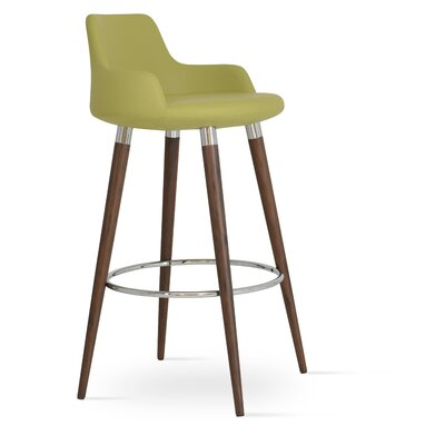 Dervish 24.5 Bar Stool Leg Color: Walnut, Upholstery: Green Leatherette