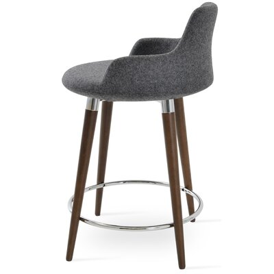 Dervish 29.5 Bar Stool Leg Color: Natural, Upholstery: Wool-Dark Gray