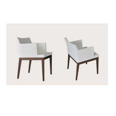 Soho Wood Arm Chair Finish: Walnut, Upholstery Color: Brown, Upholstery Type: Leatherette