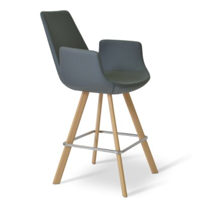 Eiffel 23 Bar Stool Leg Color: Walnut, Upholstery: Genuine Leather - Black
