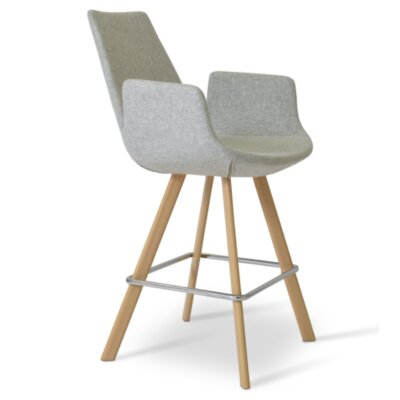 Eiffel 23 Bar Stool Leg Color: Natural, Upholstery: Camira Wool - Sky Blue