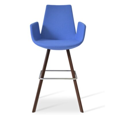Eiffel 28 Bar Stool Leg Color: Walnut, Upholstery: Camira Wool-Sky Blue