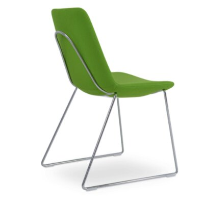 Eiffel Handle Back Genuine Leather Upholstered Dining Chair in Pistachio Camira Wool Color: Stainless Steel Polished