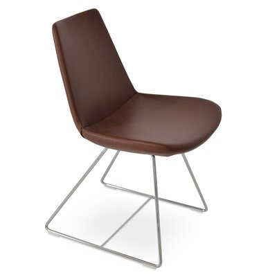 Eiffel Wire Genuine Leather Upholstered Dining Chair Upholstery: Chestnut