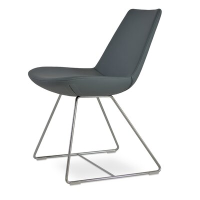 Eiffel Wire Upholstered Dining Chair Upholstery: Smoke Gray