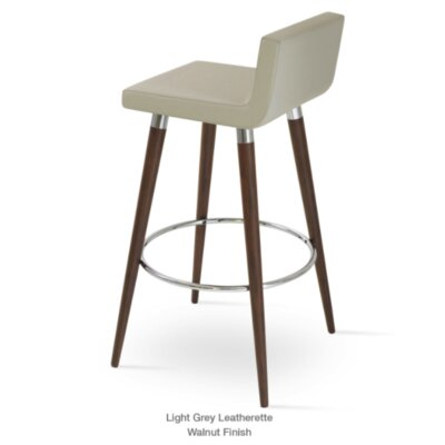 Dallas Wood 24 Bar Stool Upholstery: Leatherette-Light Gray