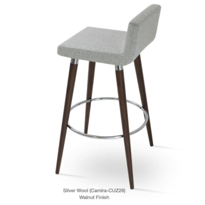 Dallas Wood 24 Bar Stool with Cushion Upholstery: Silver Camira Wool
